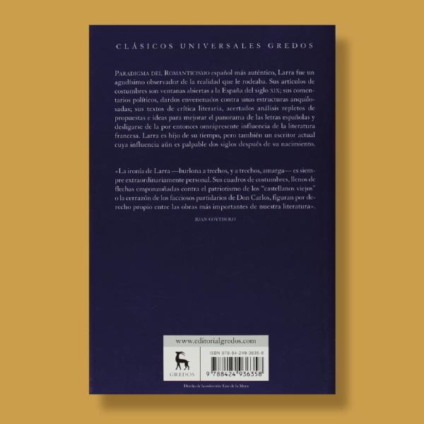 Artículos de costumbres - Mariano José De Larra - Gredos