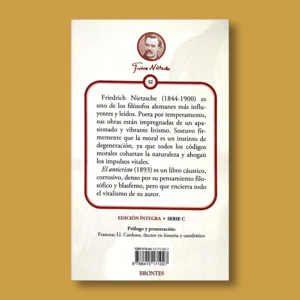 El anticristo - Friedrich Nietzsche - Ediciones Brontes