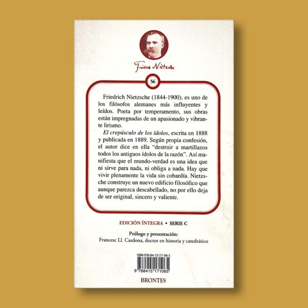 El crepúsculo de los ídolos - Friedrich Nietzsche - Ediciones Brontes