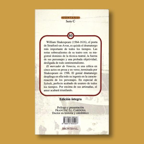 El mercader de Venecia - William Shakespeare - Ediciones Brontes