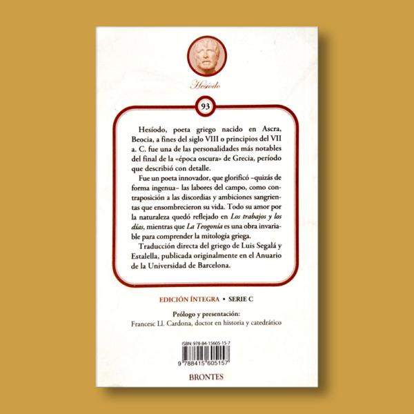 La Teogonía - Hesíodo - Ediciones Brontes