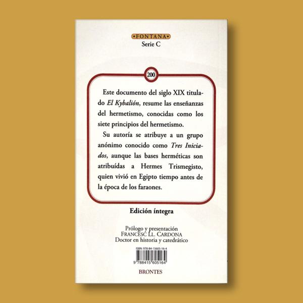 El Kybalión - Tres iniciados - Ediciones Brontes