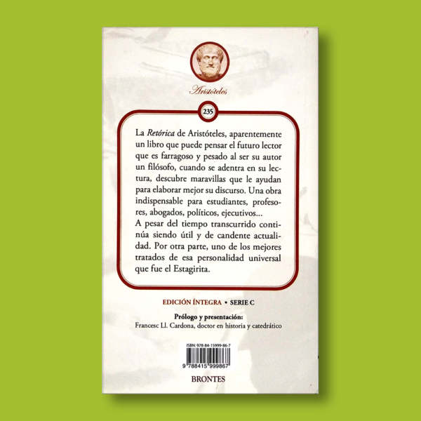 Retórica - Aristóteles - Ediciones Brontes