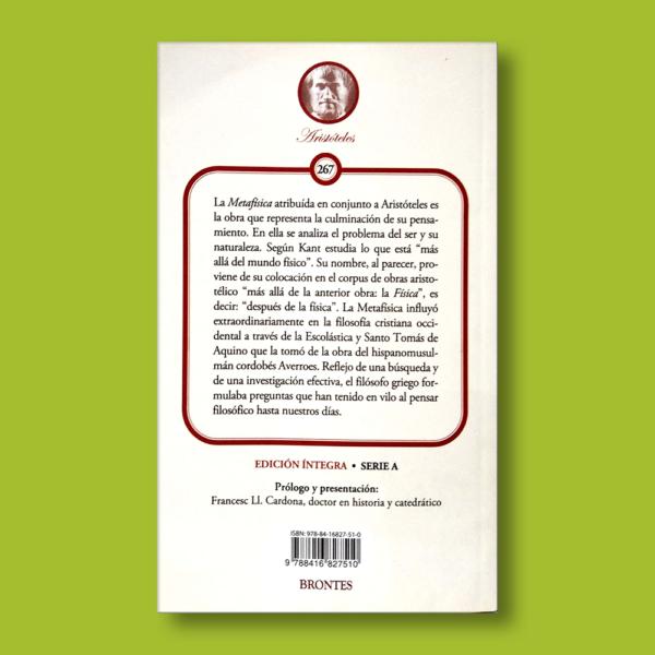 Metafísica - Aristóteles - Ediciones Brontes